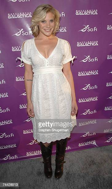 """Actor Katee Sackhoff attends the """"Battlestar Galactica"""" season four party at the Cinerama Dome on June 6, 2007 in Hollywood, California."""