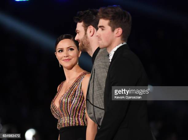 Actor Katharine McPhee Alex Pall and Andrew Taggart speak onstage during The 59th GRAMMY Awards at STAPLES Center on February 12 2017 in Los Angeles...