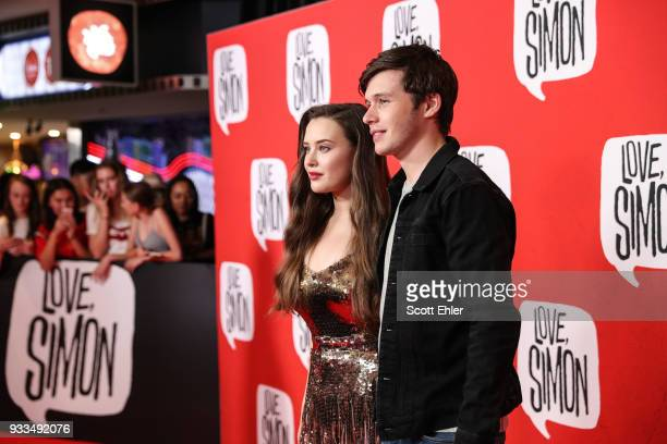 Actor Katherine Langford and Nick Robinson attend the Love Simon Australian Premiere on March 18 2018 in Sydney Australia