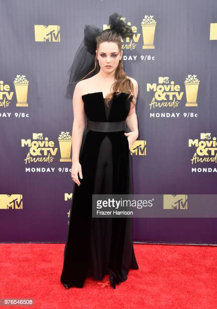 Actor Katherine Langford attends the 2018 MTV Movie And TV Awards at Barker Hangar on June 16 2018 in Santa Monica California
