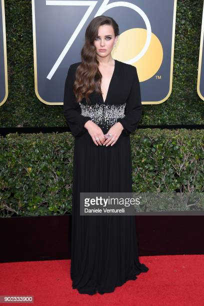 Actor Katherine Langford attends The 75th Annual Golden Globe Awards at The Beverly Hilton Hotel on January 7 2018 in Beverly Hills California