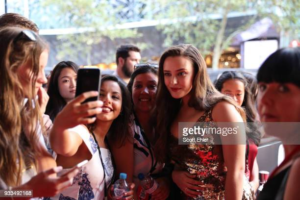 Actor Katherine Langford takes a selfie with fans at the Love Simon Australian Premiere on March 18 2018 in Sydney Australia