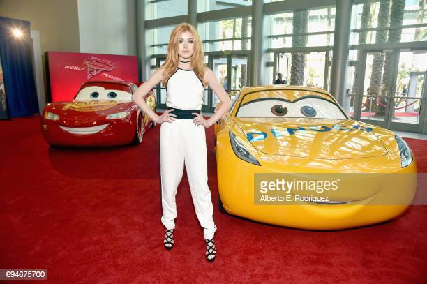 """Actor Katherine McNamara poses at the World Premiere of Disney/Pixar's """"Cars 3 at the Anaheim Convention Center on June 10 2017 in Anaheim California"""