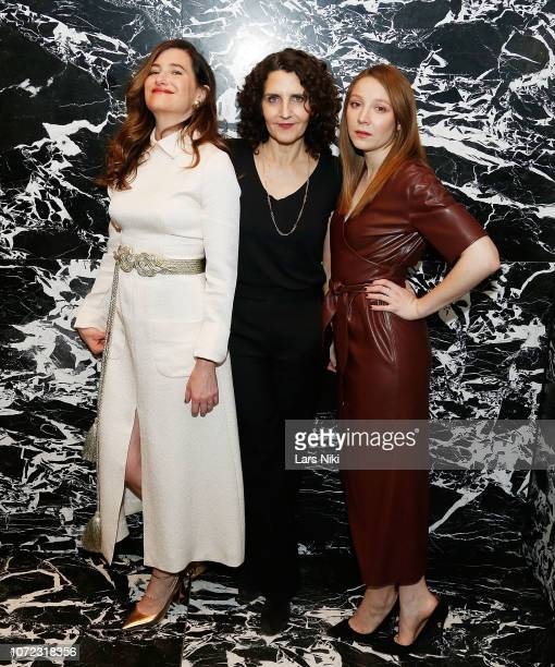 Actor Kathryn Hahn writer and director Tamara Jenkins and actor Kayli Carter attend MoMA's Contenders screening of Private Life at MoMA Titus One on...