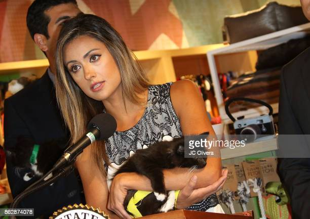 Actor Katie Cleary speaks during a press conference celebrating Calfornia Governor Jerry Brown signing California assembly Bill 485 The Pet Rescue...