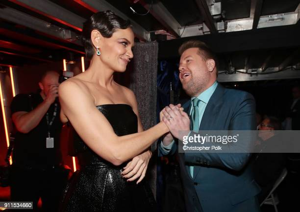 Actor Katie Holmes and host James Corden attend the 60th Annual GRAMMY Awards at Madison Square Garden on January 28 2018 in New York City