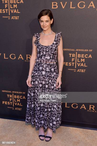 Actor Katie Holmes attends the BVLGARI world premiere screening of The Conductor and The Litas at 2018 Tribeca Film Festival at iPic Theaters on...