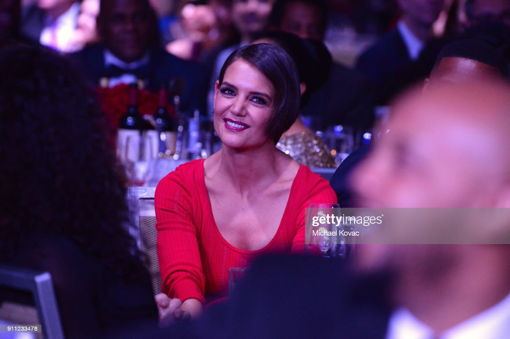 Actor Katie Holmes attends the Clive Davis and Recording Academy Pre-GRAMMY Gala and GRAMMY Salute to Industry Icons Honoring Jay-Z on January 27, 2018 in New York City.