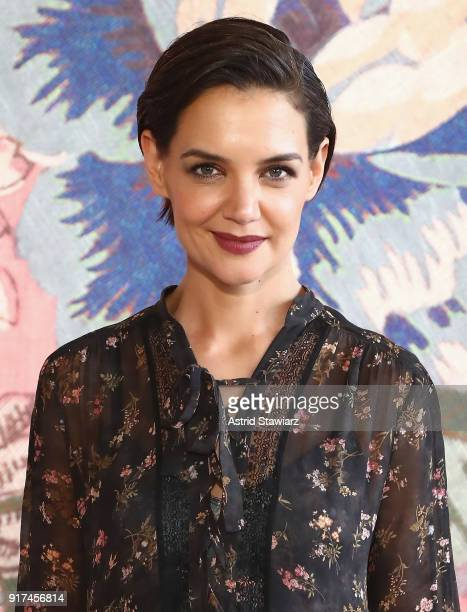 Actor Katie Holmes attends the Zimmermann fashion show during New York Fashion Week The Shows at Gallery I at Spring Studios on February 12 2018 in...