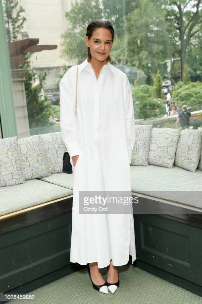 Actor Katie Holmes poses backstage during the Tory Burch Spring Summer 2019 Fashion Show at Cooper Hewitt Smithsonian Design Museum on September 7...