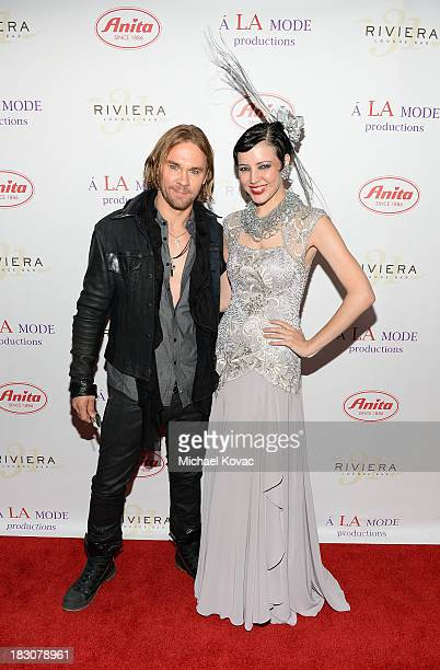Actor Kayd Currier and muse Brandise Danesewich arrive for A la mode Productions Presents Designers Night Out at Sofitel Hotel on October 3 2013 in...