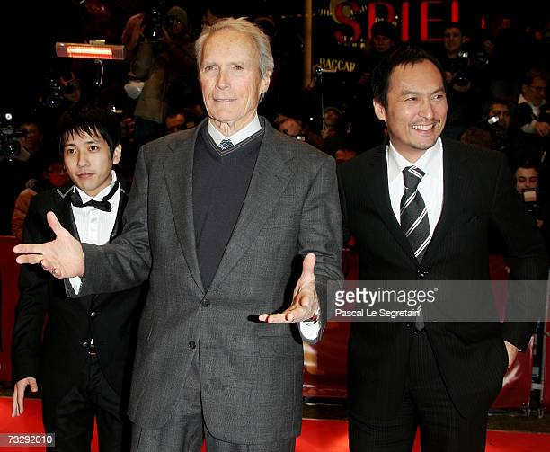Actor Kazunari Ninomiya director Clint Eastwood and actor Ken Watanabe attend the premiere to promote the movie 'Letters From Iwo Jima' during the...