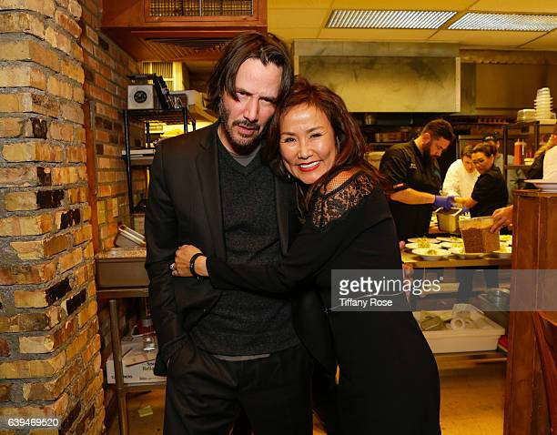 Actor Keanu Reeves and host Mimi Kim attend ChefDance sponsored by Sysco and GiftedTaste on January 21 2017 in Park City Utah