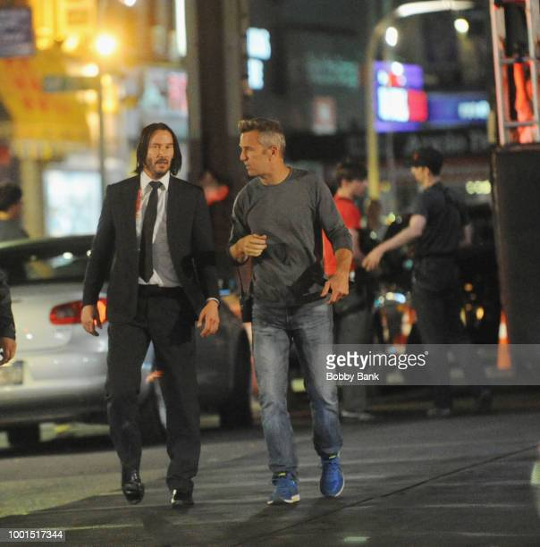 Actor Keanu Reeves and producer David Leitch on the set of John Wick 3 Parabellum on July 18 2018 in Brooklyn NY