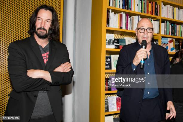 Actor Keanu Reeves and Staffan Ahrenberg attend the 'X Artists' books launch at Palais De Tokyo on November 10 2017 in Paris France