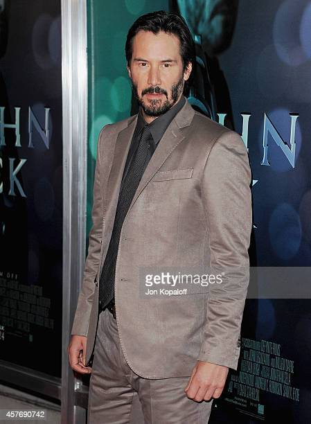 Actor Keanu Reeves arrives at the Los Angeles special screening John Wick at ArcLight Hollywood on October 22 2014 in Hollywood California