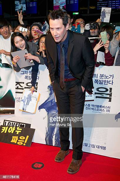 Actor Keanu Reeves attends the premiere for 'John Wick' at COEX Mega Box on January 8 2015 in Seoul South Korea The film will open January 21 in...