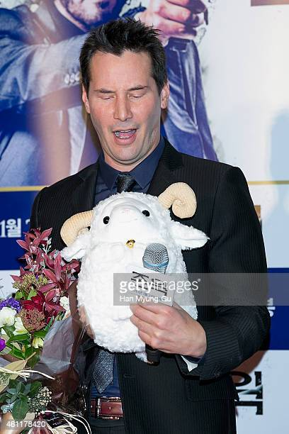 Actor Keanu Reeves attends the premiere for John Wick at COEX Mega Box on January 8 2015 in Seoul South Korea The film will open January 21 in South...