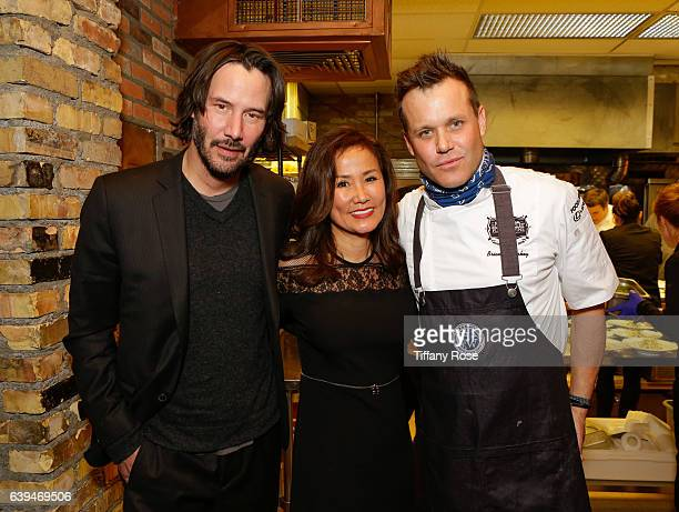 Actor Keanu Reeves host Mimi Kim and chef Brian Malarkey attend ChefDance sponsored by Sysco and GiftedTaste on January 21 2017 in Park City Utah