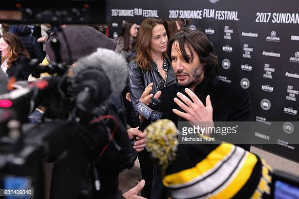 Actor Keanu Reeves is interviewed at the 'To The Bone' Premiere on day 4 of the 2017 Sundance Film Festival at Eccles Center Theatre on January 22...