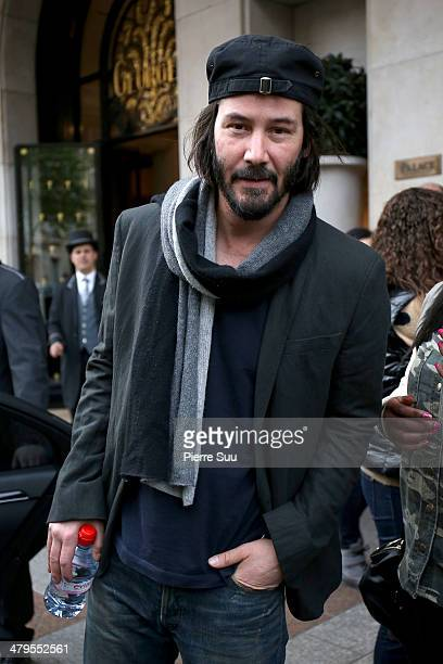 Actor Keanu Reeves leaves his hotel on March 19 2014 in Paris France