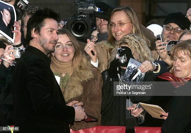 Actor Keanu Reeves meets fans at the Thumbsucker premiere during the 55th annual Berlinale International Film Festival on February 11 2005 in Berlin...