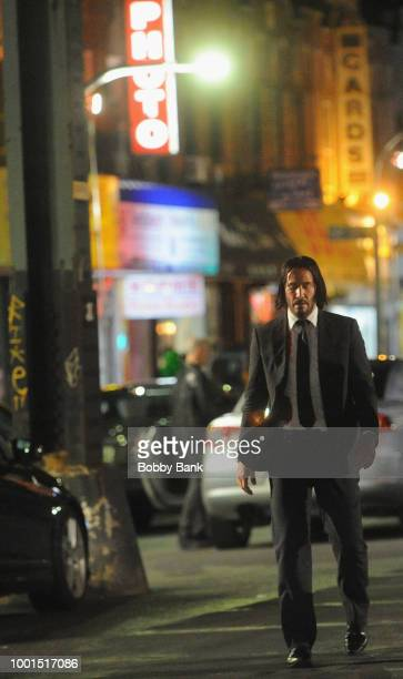 Actor Keanu Reeves on the set of John Wick 3 Parabellum on July 18 2018 in Brooklyn NY