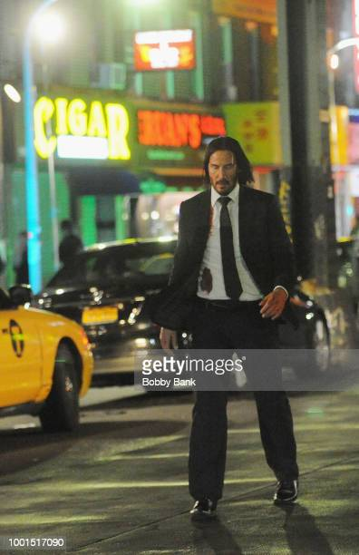 Actor Keanu Reeves on the set of 'John Wick 3 Parabellum on July 18 2018 in Brooklyn NY