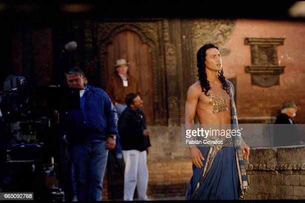 Actor Keanu Reeves on the set of the film Little Buddha directed by Italian director Bernardo Bertolucci