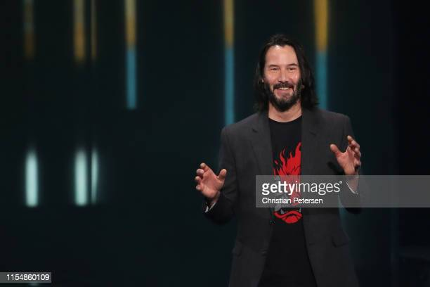 Actor Keanu Reeves speaks about Cyberpunk 2077 from developer CD Projekt Red during the Xbox E3 2019 Briefing at The Microsoft Theater on June 09...