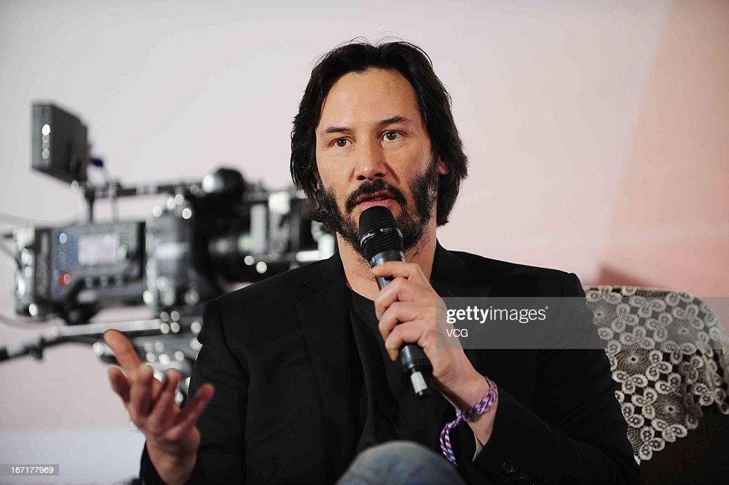 Actor Keanu Reeves speaks in front of an ARRI ALEXA digital motion picture camera during a 3D movie technology forum as a part of the 3rd Beijing International Film Festival on April 22, 2013 in Beijing, China.
