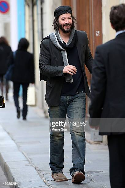 Actor Keanu Reeves strolling in le Marais district on March 19 2014 in Paris France
