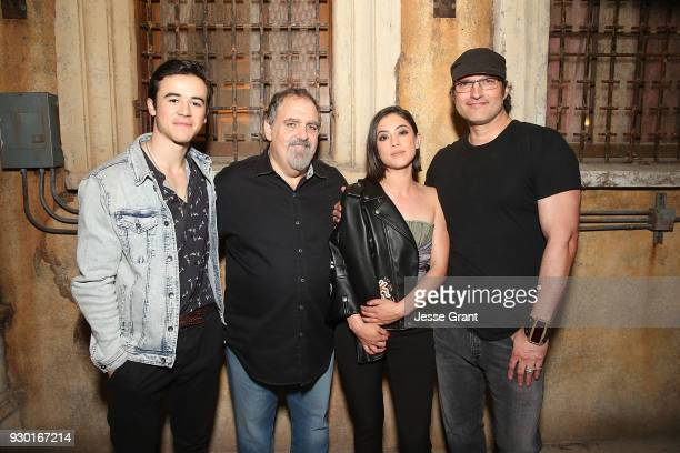 Actor Keean Johnson producer Jon Landau actor Rosa Salazar and director Robert Rodriguez attend the SXSW Film Opening Night Party presented by Alita...