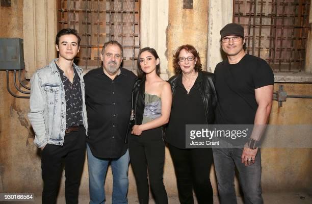 Actor Keean Johnson producer Jon Landau actor Rosa Salazar Director of SXSW Film Janet Pierson and director Robert Rodriguez attend the SXSW Film...