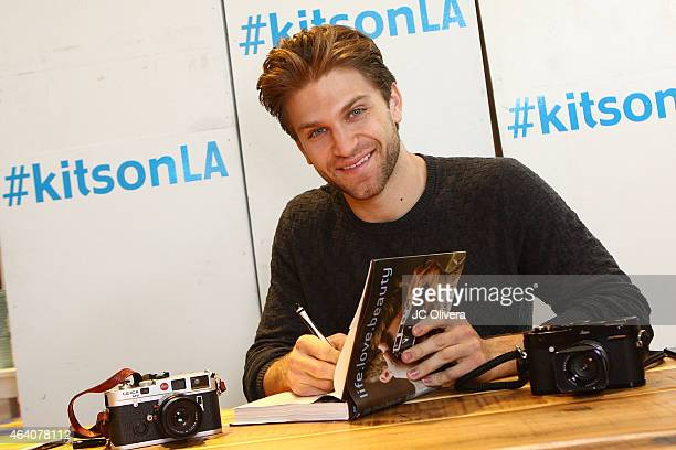 Actor Keegan Allen attends the book signing of his book 'livelovebeauty' at Kitson Santa Monica on February 21 2015 in Santa Monica California