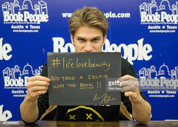 Actor Keegan Allen signs copies of his new book 'lifelovebeauty' at Book People on February 6 2015 in Austin Texas