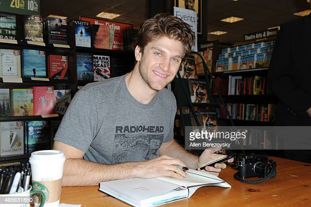 Actor Keegan Allen signs his book 'lifelovebeauty' at Barnes Noble on March 8 2015 in Huntington Beach California
