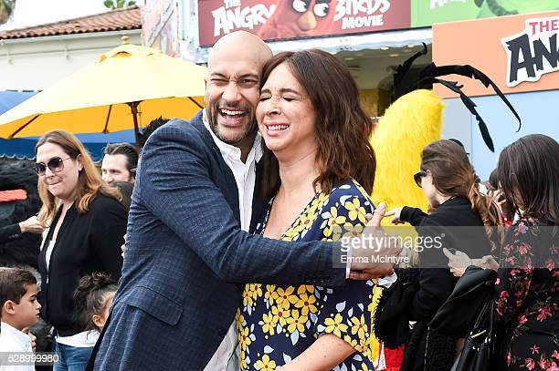 Actor KeeganMichael Key and actress Maya Rudolph attend the premiere of Sony Pictures' 'Angry Birds' at Regency Village Theatre on May 7 2016 in...