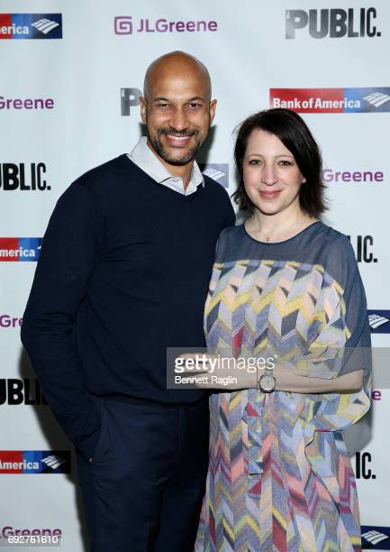 Actor KeeganMichael Key and Elisa Pugliese attend the 2017 Public Theater Gala 'Hair to Hamilton' at Delacorte Theater on June 5 2017 in New York City