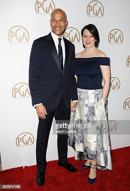 Actor KeeganMichael Key and Elisa Pugliese attend the 28th annual Producers Guild Awards at The Beverly Hilton Hotel on January 28 2017 in Beverly...