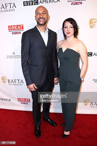 Actor KeeganMichael Key and Elisa Pugliese attend The BAFTA Tea Party at Four Seasons Hotel Los Angeles at Beverly Hills on January 7 2017 in Los...