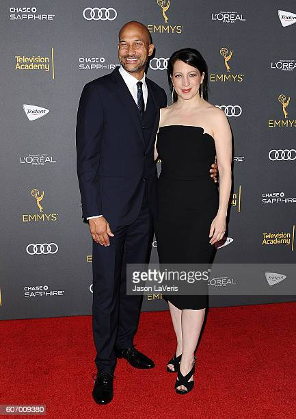 Actor KeeganMichael Key and Elisa Pugliese attend the Television Academy reception for Emmy nominated performers at Pacific Design Center on...