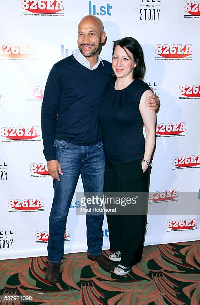 Actor KeeganMichael Key and producer Elisa Pugliese arrive at 826LA's Tell Me A Story at The Wiltern on June 2 2016 in Los Angeles California