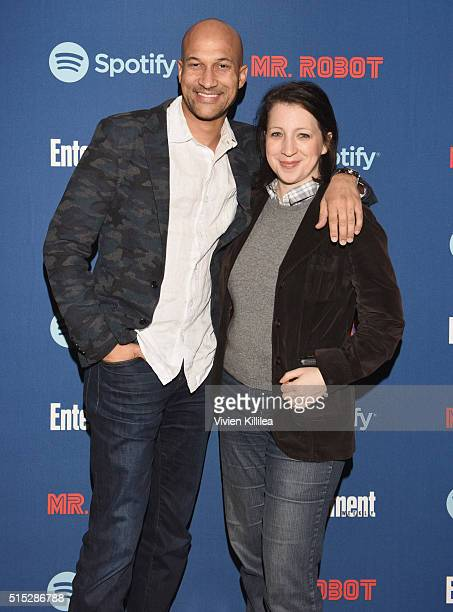 Actor KeeganMichael Key and producer Elisa Pugliese attend a dinner hosted by Entertainment Weekly celebrating Mr Robot at the Spotify House in...