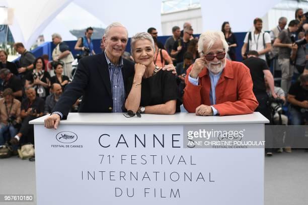 Actor Keir Dullea, Katharina Kubrick, daughter of British director Stanley Kubrick and German-US producer Jan Harlan pose on May 12, 2018 during a...