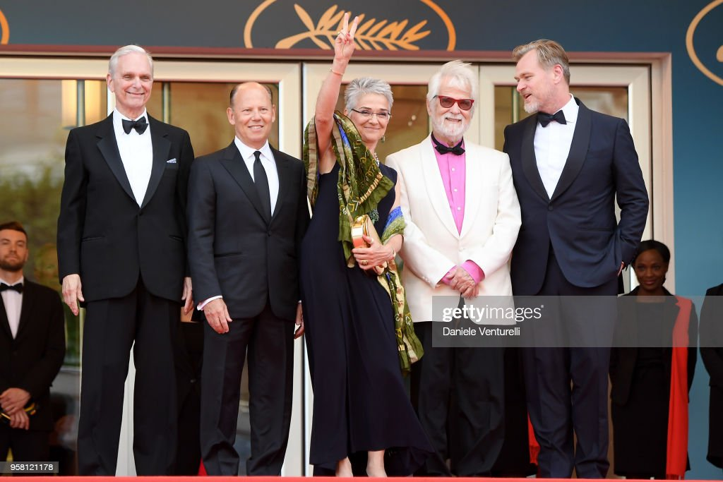 Actor Keir Dullea, Stanley Kubrick's daughter Katharina Kubrick, Stanley Kubrick's producing partner and brother-in-law Jan Harlan, director Christopher Nolan and guest (2nd L) attend the screening of '2001: A Space Odyssey' ahead of the 'Sink Or Swim (Le Grand Bain)' Premiere during the 71st annual Cannes Film Festival at Palais des Festivals on May 13, 2018 in Cannes, France.