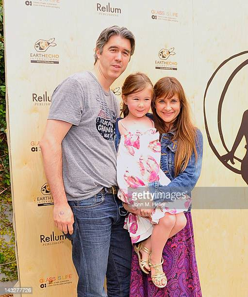 Actor Keith Christian Margaret Maggie Heather Christian and actress Kellie Martin arrive at the celebration for the launch of Kimberly Muller and...