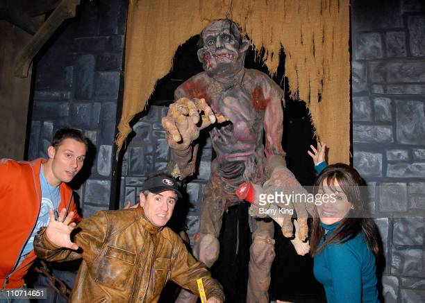 Actor Keith Collins actor Carlos Alazraqui and ctress/comedian JillMichele Melean visit Knott's Scary Farm's 35th Annual Halloween Haunt held at...