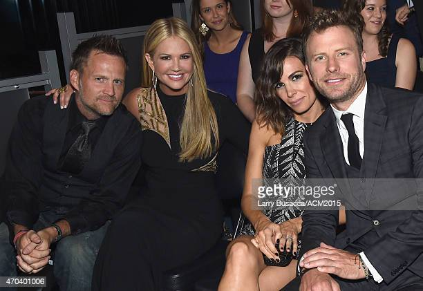 Actor Keith Zubulevich TV personality Nancy O'Dell Cassidy Black and recording artist Dierks Bentley attend the 50th Academy Of Country Music Awards...