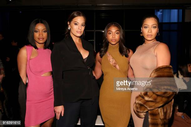 Actor Keke Palmer model Ashley Graham Lori Harvey and actor Lala Anthony pose at the Cushnie Et Ochs front row during New York Fashion Week The Shows...